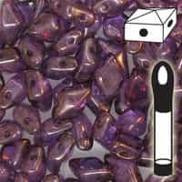 VDD-15726 - DiamonDuo 2-Hole Beads - 5x8mm - Lumi Amethyst - 12 Gram Vial (approx 80 pcs)