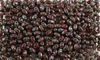 SUPERDUO BEADS 2.5x5mm 8 Grams OPAQUE BLOOD RED PICASSO