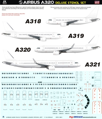 1:144 Airbus A.320 family Delux Stencil Set