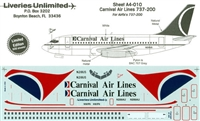 1:144 Carnival Airlines Boeing 737-200