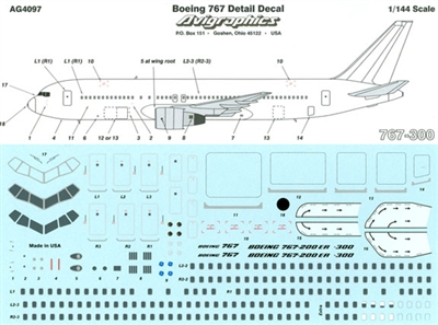 1:144 Windows and Details, Boeing 767's