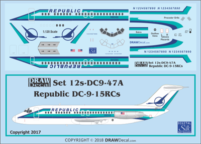 1:120 Republic Airlines Douglas DC-9-15RC