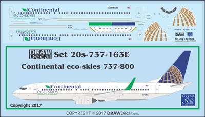 1:200 Continental Airlines 'eco skies' Boeing 737-800