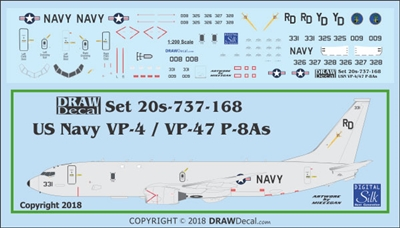 1:200 US Navy Boeing P-8A Poseidon VP-4 Skinny Dragons, VP-47 Golden Swordsmen