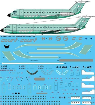 1:144 Court Line (turquoise cs) BAC 1-11-500 / -400