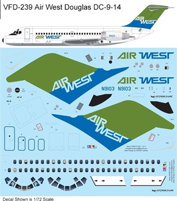 1:144 Air West (green/blue cs) Douglas DC-9-14