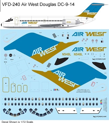 1:144 Air West (blue/mustard cs) Douglas DC-9-14
