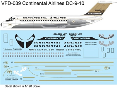1:72 Continental Airlines 'Golden Jet' Douglas DC-9-10