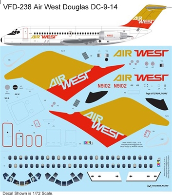 1:72 Air West (gold/red cs) Douglas DC-9-14