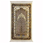 Muslim Prayer Rug Mat 2.2' x 3.7' with Wonderful Black White and Yellow Design