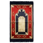 Muslim Prayer Rug Mat 2.3' x 3.6' Blue Red Tan and Gold Design