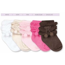 Jefferies Ruffle Pom Pom Girls Socks - 1 Pair