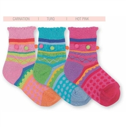 Jefferies Pom Stripe Girls Socks - 1 Pair
