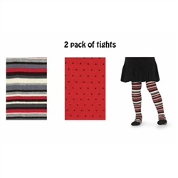 Jefferies Stripe/Pin Dot Girls Tights - 2 Tights