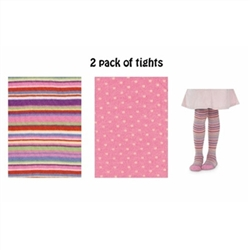 Jefferies Stripe/Microdot Girls Tights - 2 Tights