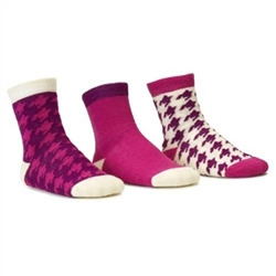Blind Mice Houndstooth Magenta/Cream/Purple Crew Baby Girls Socks - 3 Single Socks