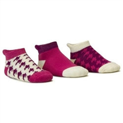 Blind Mice Houndstooth Magenta/Cream/Purple Low Cut Baby Girls Socks - 3 Single Socks