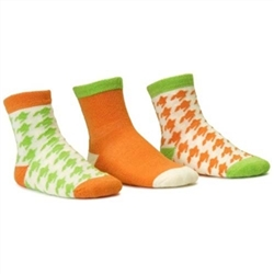 Blind Mice Houndstooth Orange/Cream/Lime Crew Baby Girls Socks - 3 Single Socks