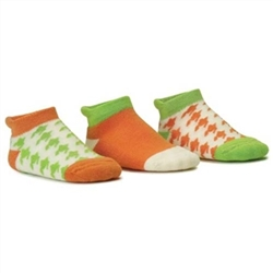 Blind Mice Houndstooth Orange/Cream/Lime Low Cut Baby Girls Socks - 3 Single Socks