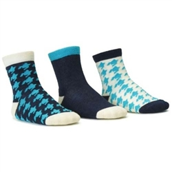 Blind Mice Houndstooth Cyan/Cream/Navy Crew Baby Girls Socks - 3 Single Socks