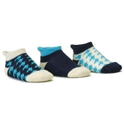 Blind Mice Houndstooth Cyan/Cream/Navy Low Cut Baby Socks - 3 Single Socks