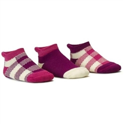 Blind Mice Gingham Magenta/Cream/Purple Baby Boys and Girls Socks - 3 Single Socks