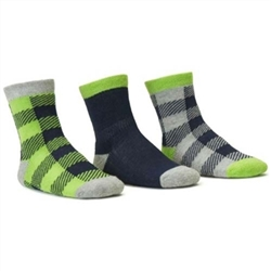 Blind Mice Gingham Navy/Heather/Lime Crew Baby Boys Socks - 3 Single Socks