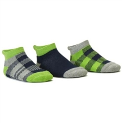 Blind Mice Gingham Navy/Heather/Lime Low Cut Baby Boys Socks - 3 Single Socks