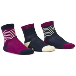 Blind Mice Herringbone Navy/Cream/Purple Crew Baby Boys and Girls Socks - 3 Single Socks