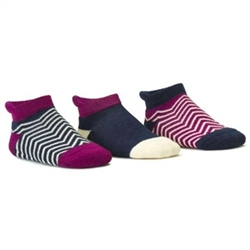 Blind Mice Herringbone Navy/Cream/Purple Low Cut Baby Boys and Girls Socks - 3 Single Socks