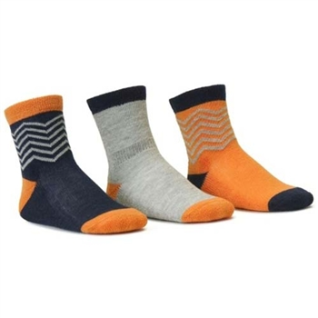 Blind Mice Herringbone Orange/Heather/Navy Crew Baby Boys Socks - 3 Single Socks