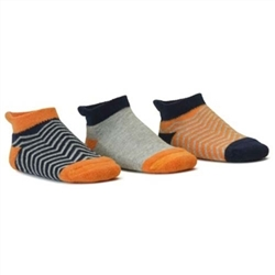 Blind Mice Herringbone Orange/Heather/Navy Low Cut Baby Boys Socks - 3 Single Socks