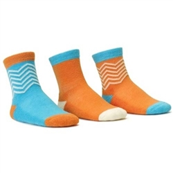Blind Mice Herringbone Cyan/Cream/Orange Crew Baby Girls Socks - 3 Single Socks