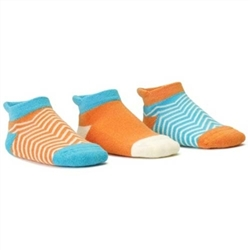 Blind Mice Herringbone Cyan/Cream/Orange Low Cut Baby Girls Socks - 3 Single Socks