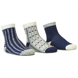 Blind Mice Dots Navy/Heather/Cream Crew Baby Boys Socks - 3 Single Socks