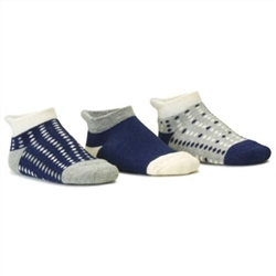 Blind Mice Dots Navy/Heather/Cream Low Cut Baby Boys Socks - 3 Single Socks