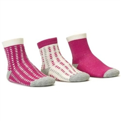 Blind Mice Dots Magenta/Heather/Cream Crew Baby Girls Socks - 3 Single Socks
