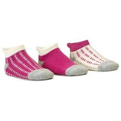 Blind Mice Dots Magenta/Heather/Cream Low Cut Baby Girls Socks - 3 Single Socks