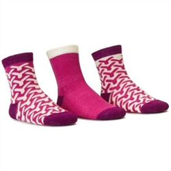 Blind Mice Wick Magenta/Cream/Purple Crew Baby Girls Socks - 3 Single Socks