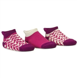 Blind Mice Wick Magenta/Cream/Purple Low Cut Baby Girls Socks - 3 Single Socks