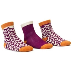 Blind Mice Wick Orange/Cream/Purple Crew Baby Girls Socks - 3 Single Socks