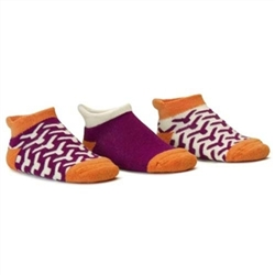 Blind Mice Wick Orange/Cream/Purple Low Cut Baby Girls Socks - 3 Single Socks