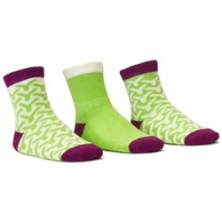 Blind Mice Wick Purple/Cream/Lime Crew Baby Girls Socks - 3 Single Socks