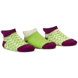 Blind Mice Wick Purple/Cream/Lime Low Cut Baby Girls Socks - 3 Single Socks