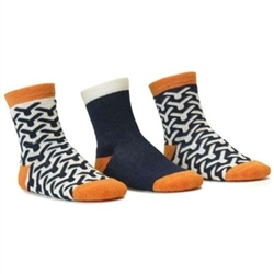 Blind Mice Wick Navy/Cream/Orange Crew Baby Boys Socks - 3 Single Socks
