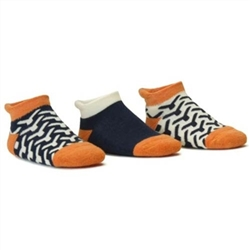 Blind Mice Wick Navy/Cream/Orange Low Cut Baby Boys Socks - 3 Single Socks