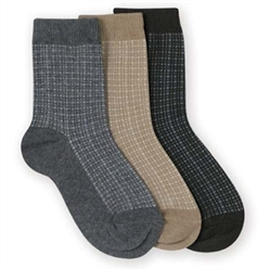 Jefferies Woven Pattern Crew Boys Socks - 1 Pair