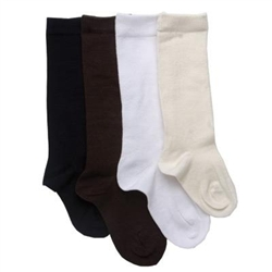 TicTacToe Flat Knit Cotton Girls Knee High - 1 Pair