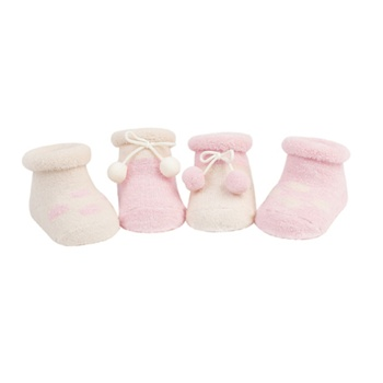 Sweet Feet 200 Wooly Pom Pink Girls Socks - 4 Booties