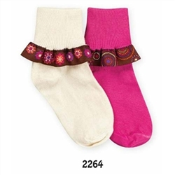 Jefferies Retro Ribbon Girls Socks - 1 Pair